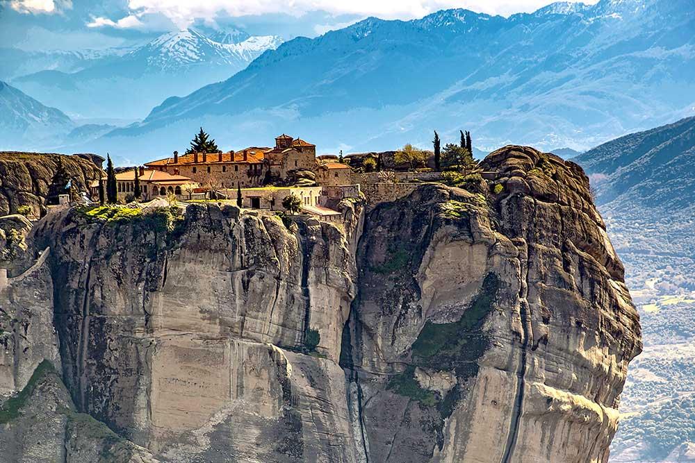 Meteora Griekenland met olieverf effect