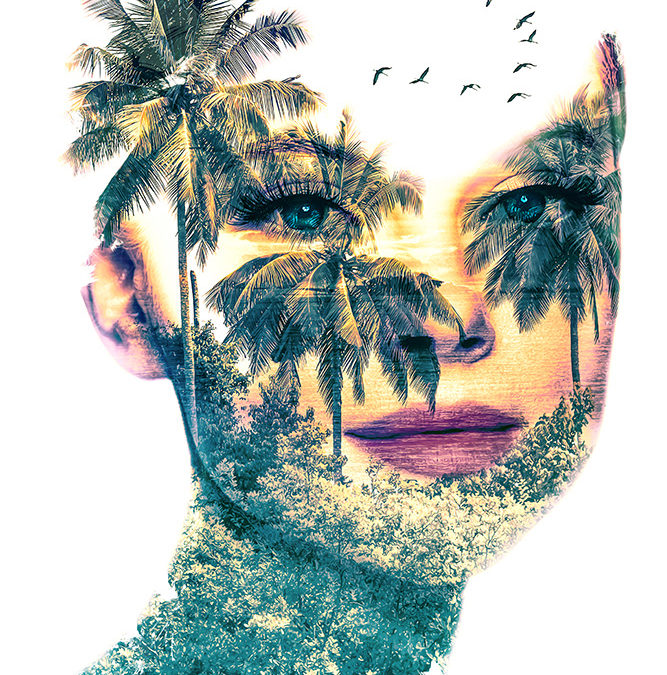 Double exposure vrouw met tropisch landschap