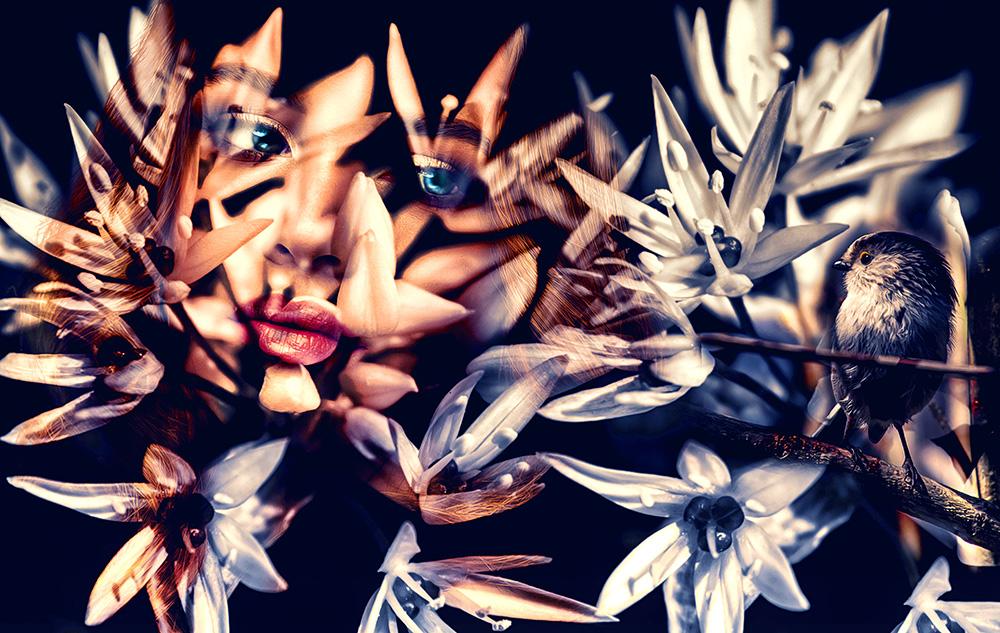 Double exposure van vrouw en witte bloemen