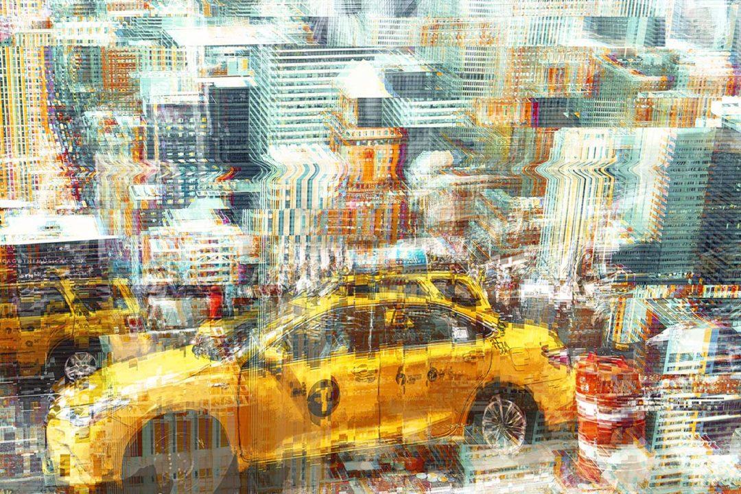 Double exposure en glitch effect met twee NYC foto's