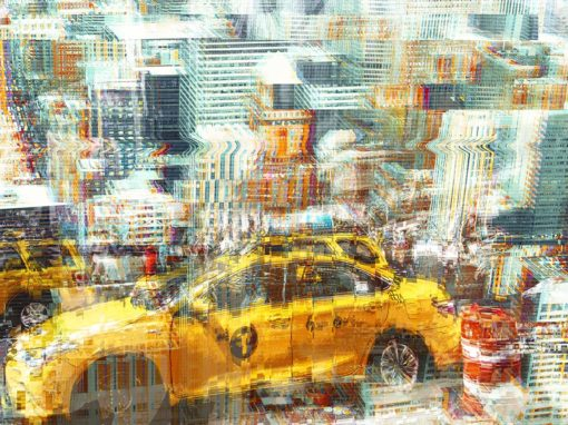 Double exposure en glitch effect met twee NYC foto's