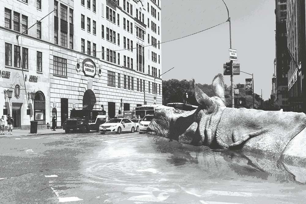 Neushoorn zwemmend in NYC