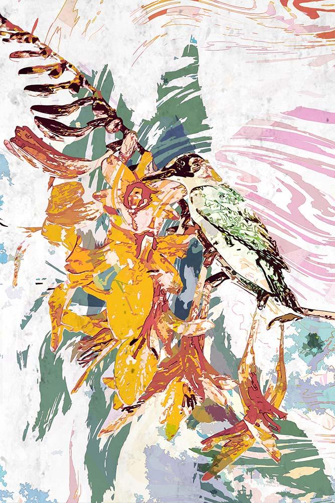 Abstract beeld van een groene specht