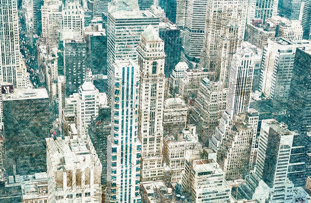 NYC met vintage sketch effect